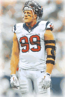 Houston Texans Jj Watt 4 Poster by Joe Hamilton