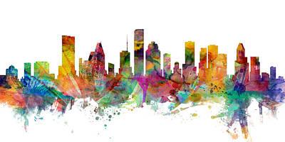 Houston Texas Skyline Panoramic Poster by Michael Tompsett