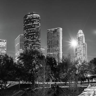 Houston Texas Usa Skyline Black White 1x1 Poster