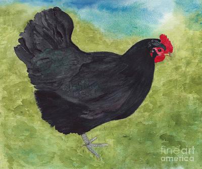 How Do You Like My Little Black Dress? Iridescent Black Hen Poster