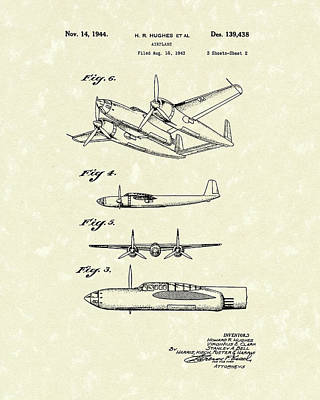 Howard Hughes Airplane 1944 Patent Art  Poster by Prior Art Design