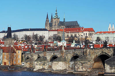 Hradcany - Cathedral Of St Vitus And Charles Bridge Poster