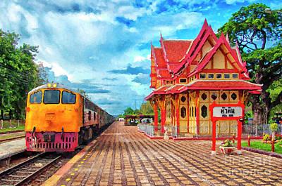 Hua Hin Train Station Digital Painting Poster