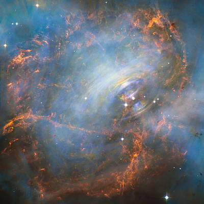 Hubble Captures The Beating Heart Of The Crab Nebula Poster by Nasa