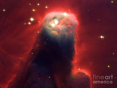 Hubble Newest Camera Images Ghostly Star Forming Pillar Of Gas A Poster by Mohamed Elkhamisy