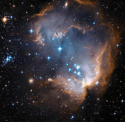 Hubble's View Of N90 Star-forming Region Poster by Nasa
