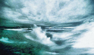 Huge Waves And Stormy Sea Art Painting Poster