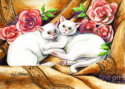 Poster featuring the painting Hugging Cats by Linda L Martin