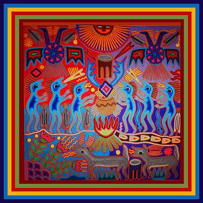 Poster featuring the digital art Huichol Tribal Fire Ritual by Vagabond Folk Art - Virginia Vivier