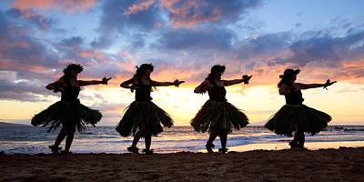 Hula At Sunset Poster