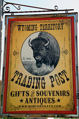Hulett Wyoming Territory Trading Post Signage Vertical Poster by Thomas Woolworth