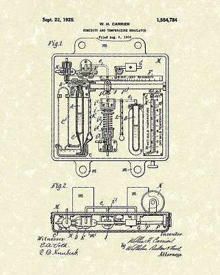 Poster featuring the drawing Humidity And Temperature Regulator 1925 Patent Art by Prior Art Design