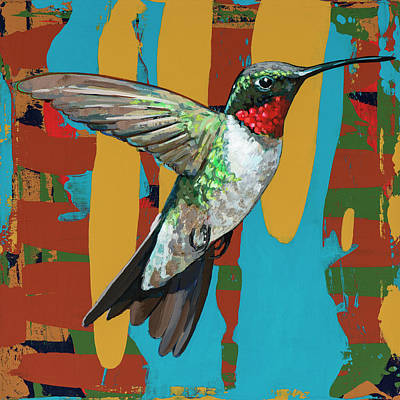 Poster featuring the painting Hummingbird #10 by David Palmer