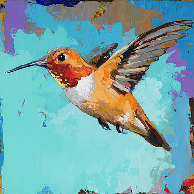 Poster featuring the painting Hummingbird #11 by David Palmer
