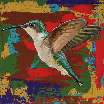 Poster featuring the painting Hummingbird #12 by David Palmer