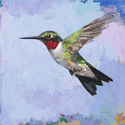 Poster featuring the painting Hummingbird #3 by David Palmer
