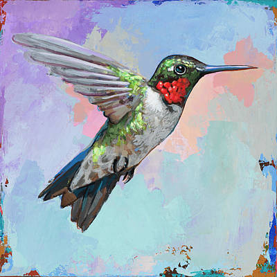 Poster featuring the painting Hummingbird #4 by David Palmer