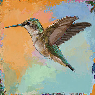 Poster featuring the painting Hummingbird #5 by David Palmer