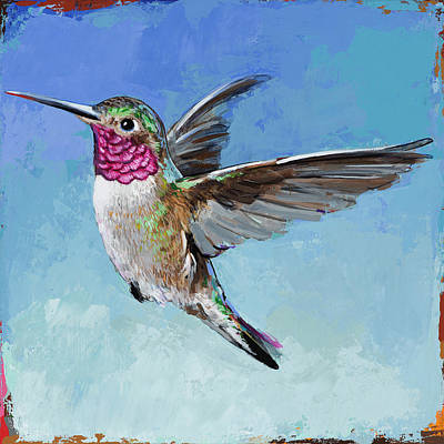 Poster featuring the painting Hummingbird #6 by David Palmer