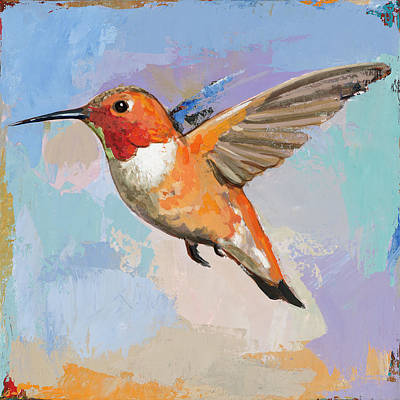 Poster featuring the painting Hummingbird #7 by David Palmer