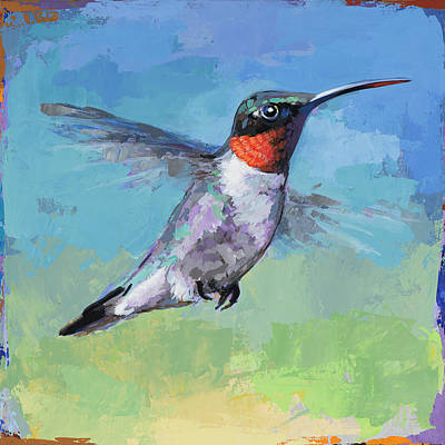 Poster featuring the painting Hummingbird #8 by David Palmer