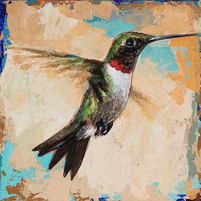 Poster featuring the painting Hummingbird #9 by David Palmer