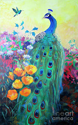 Poster featuring the painting Hummingbird And Peacock by Robin Maria Pedrero