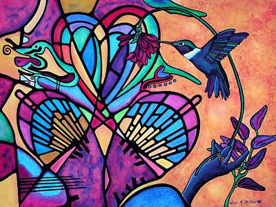 Poster featuring the painting Hummingbird And Stained Glass Hearts by Lori Miller
