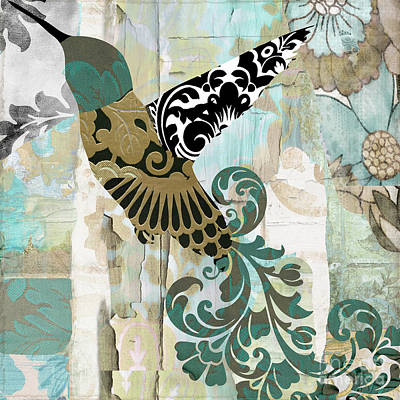 Hummingbird Batik Poster by Mindy Sommers