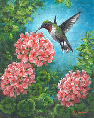 Poster featuring the painting Hummingbird Heaven by Kim Lockman