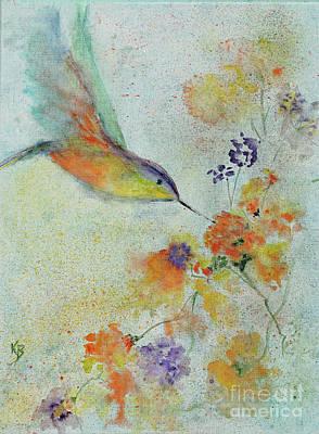 Poster featuring the painting Hummingbird by Karen Fleschler
