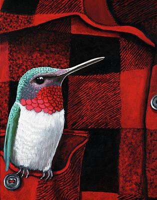Poster featuring the painting Hummingbird Memories by Linda Apple