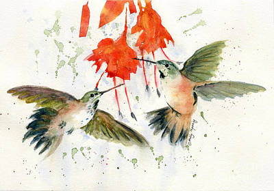 Hummingbird Watercolor Poster by Melly Terpening