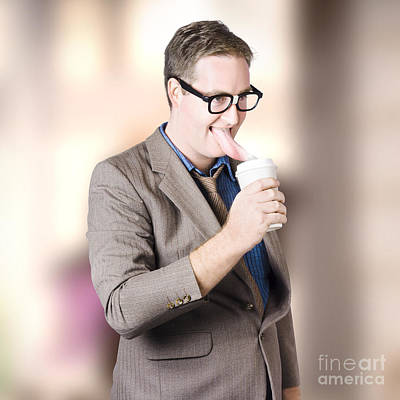 Humorous Businessman Licking Top Of Coffee Cup Poster by Jorgo Photography - Wall Art Gallery