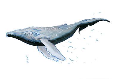 Humpback Blue Poster by Lee Gelwicks