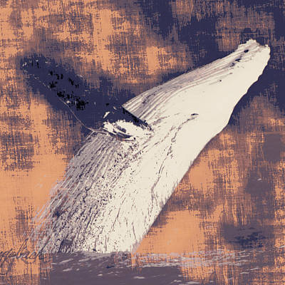Humpback Whale Distressed Poster by Brandi Fitzgerald