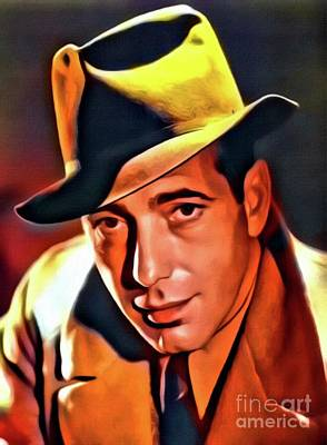 Humphrey Bogart, Vintage Hollywood Legend. Digital Art By Mb Poster by Mary Bassett