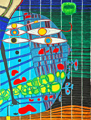Hundertwasser Blue Moon Atlantis Escape To Outer Space In 3d By J.j.b Poster by Jesse Jackson Brown
