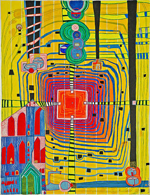 Hundertwassers Close Up Of Infinity Tagores Sun Poster by Jesse Jackson Brown