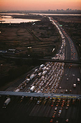 Hundreds Of Cars Line Up To Pay A Toll Poster by Melissa Farlow