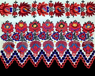 Hungarian Folk Art Embroidery From Sioagard Poster