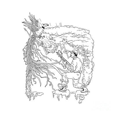 Hunter And Pheasant Ukiyo-e Poster