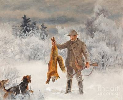 Hunter With Hounds And Fox Poster by Celestial Images