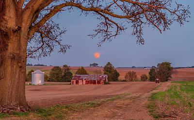 Hunters Moon Over Lebanon Il Farm Poster by Art Of Frozen Time