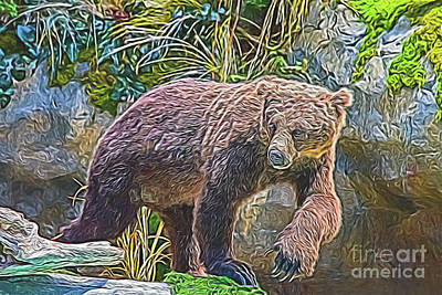 Poster featuring the digital art Hunting Bear by Ray Shiu