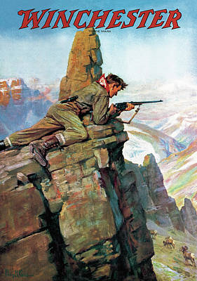 Poster featuring the painting Hunting Bighorn Sheep by Philip R Goodwin