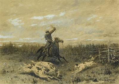 Hunting With Borzoi Poster