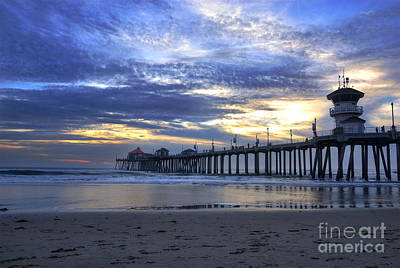 Huntington Beach At Twilight Poster by K D Graves