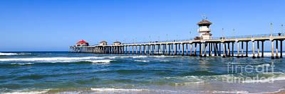 Huntington Beach Pier Panoramic Photo Poster by Paul Velgos