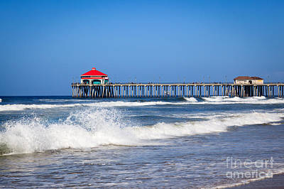 Huntington Beach Pier Photo Poster by Paul Velgos